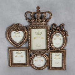 Große antike Gold Crown Multi Photo Frame