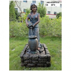 39H girl pouring water fiber fountain
